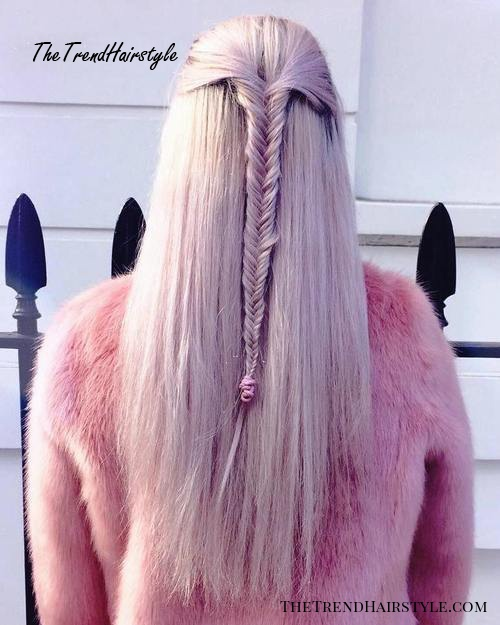 half up fishtail for long straight hair