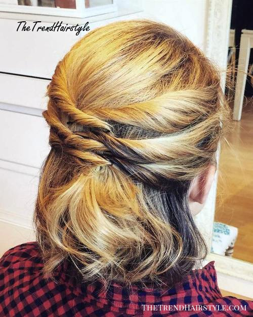 half up twisted hairstyle for shorter hair