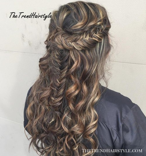 half updo with fishtail