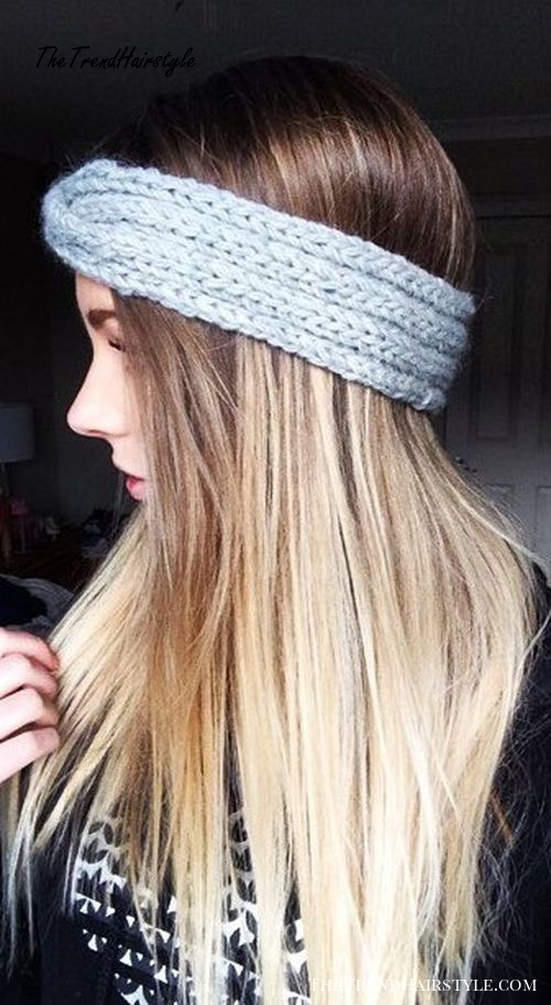 knitted headband with brown blonde hair