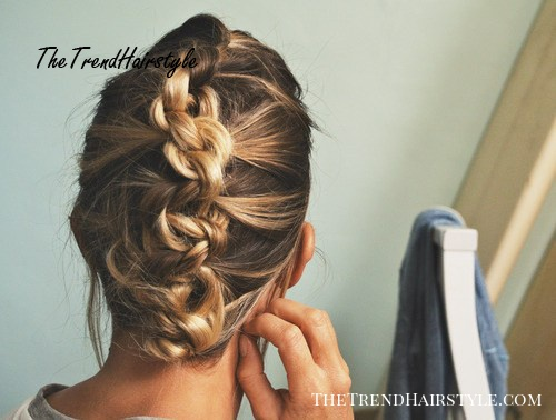 knotted fauxhawk updo for short hair