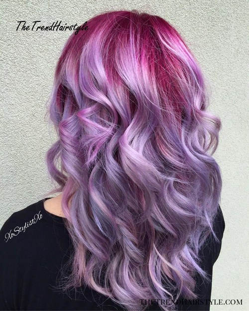 lavender hair with pink roots