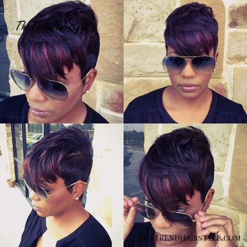layered pixie with highlights in bangs