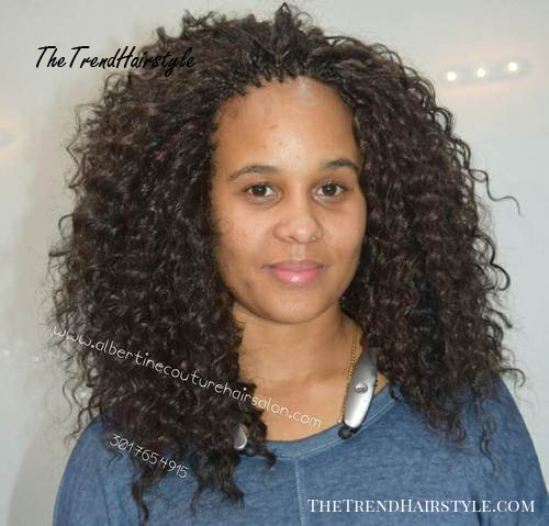 layered wavy shoulder length tree braids