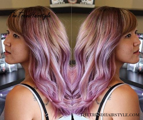 light brown hair with lavender ombre