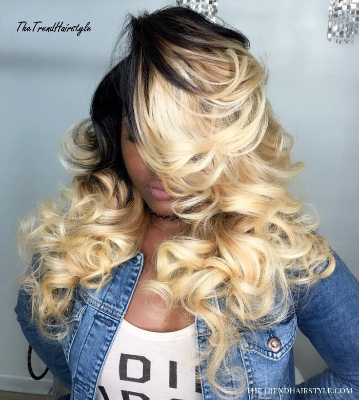 long blonde curly sew-in