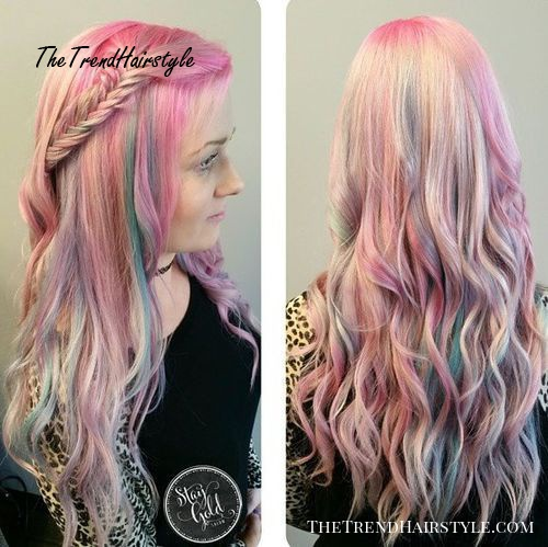 long blonde hairstyle with pastel highlights
