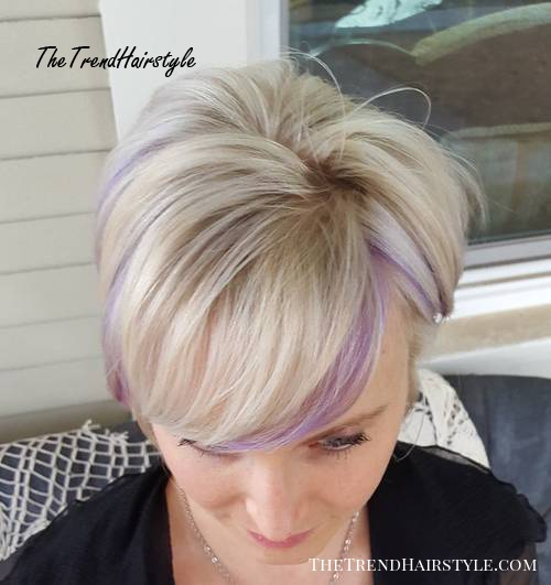 long blonde pixie with light purple highlights