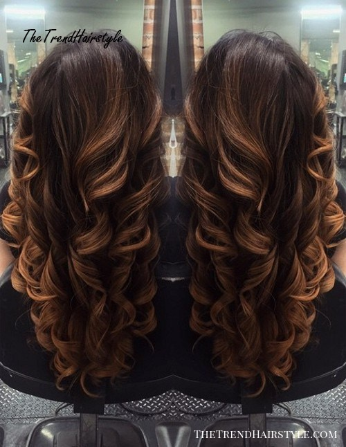 long brown hair with caramel balayage highlights