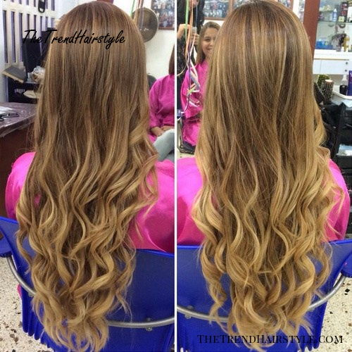 long curly brown blonde hairstyle