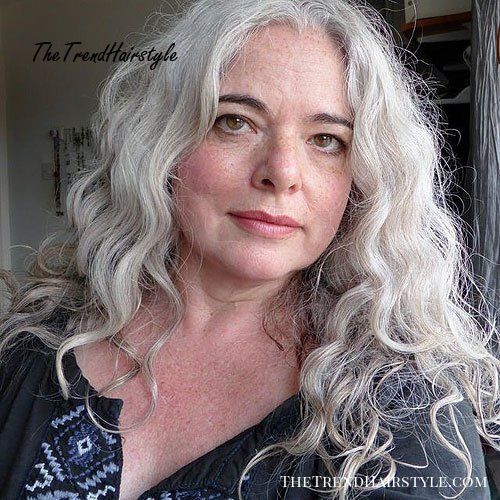long curly gray hairstyle for older women