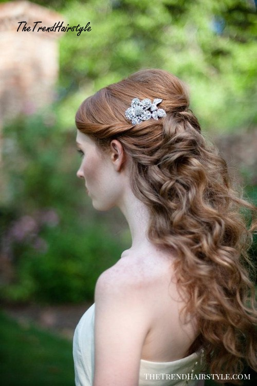 long curly half up half down hairstyle