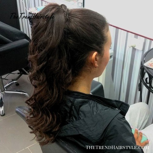 long curly pony for brunettes