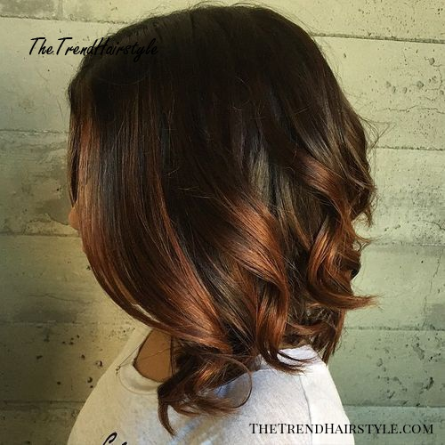 long dark brown bob with copper ombre highlights