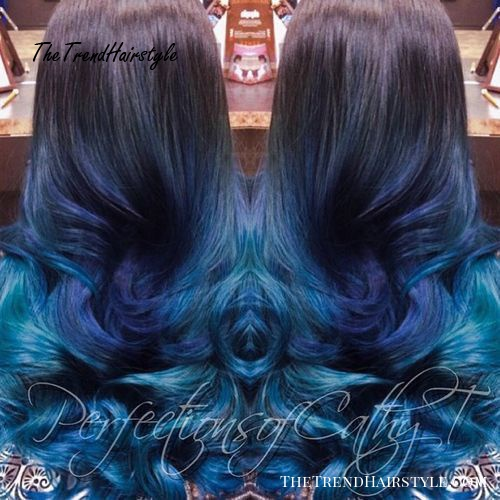 long dark brown hair with blue ombre