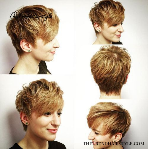 long feathered brown blonde pixie