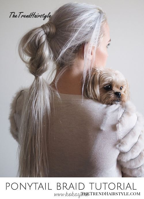 long gray braided ponytail hairstyle