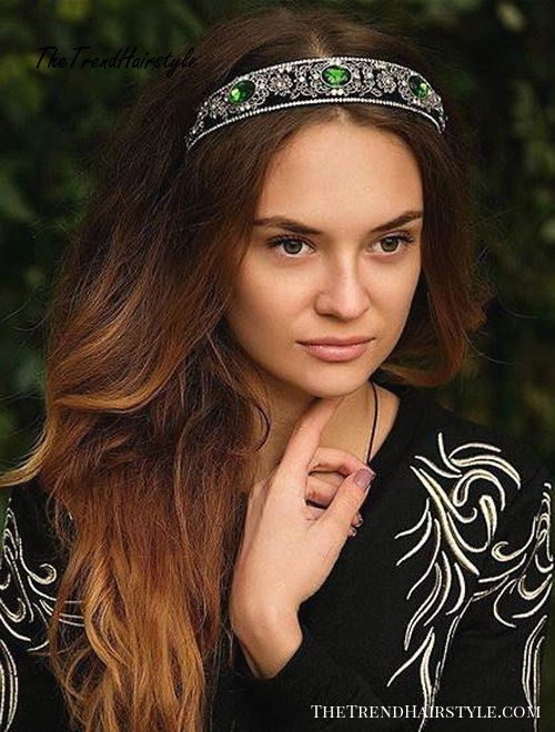 long hairstyle with a jeweled headband