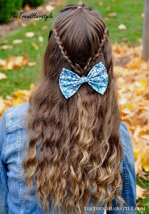 long half up hairstyle for teenage girls