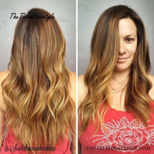 long layered haircut and ombre