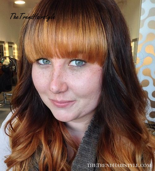 long layered hairstyle with long straight bangs