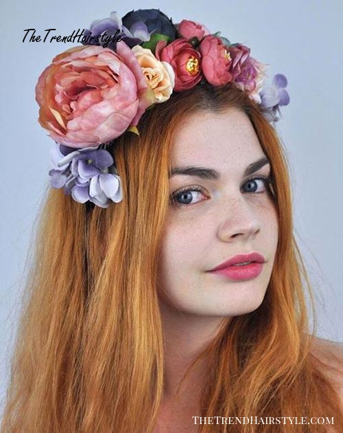 long red hair with floral crown