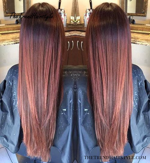 long reddish brown ombre
