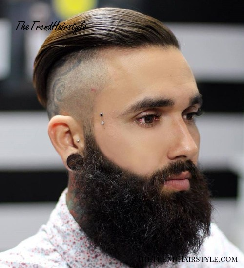 long top shaved sides and beard