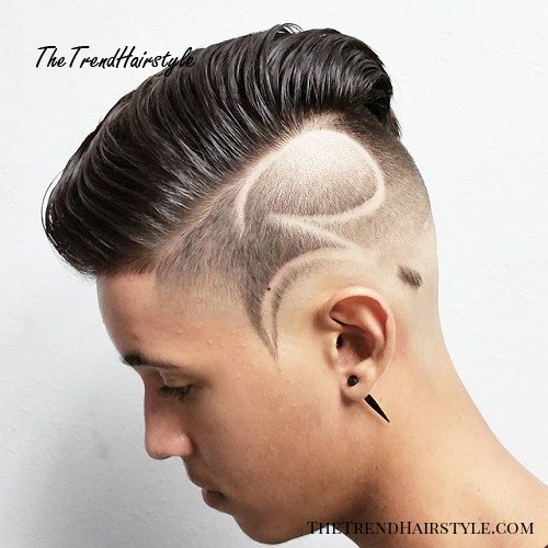 long top short sides haircut with shaved design