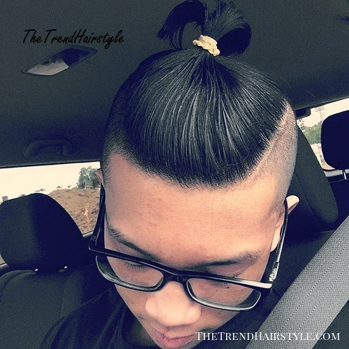 long top short sides hairstyle for Asian men