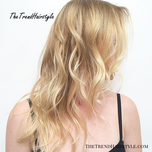 long wavy hairstyle for thin hair