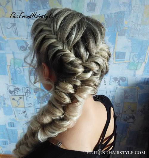 looped fishtail for long thick hair