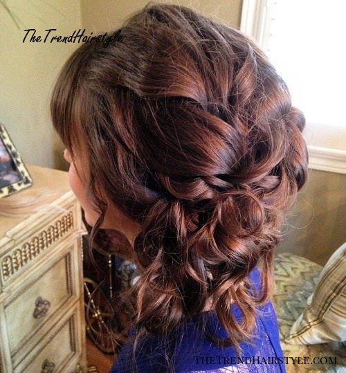 loose messy side updo