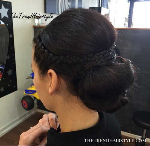low bun with a bouffant and braids