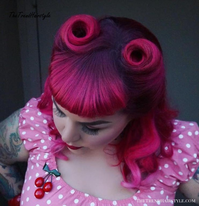 magenta and pink highlights for brown hair