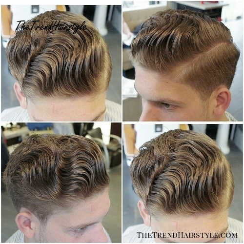 men's curly side part hairstyle