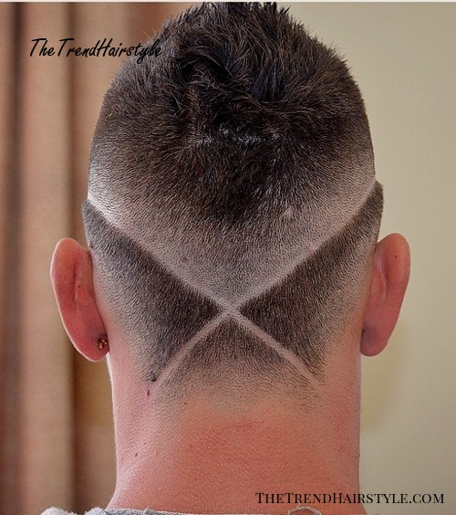 men's haircut with criss-crossed shaven lines