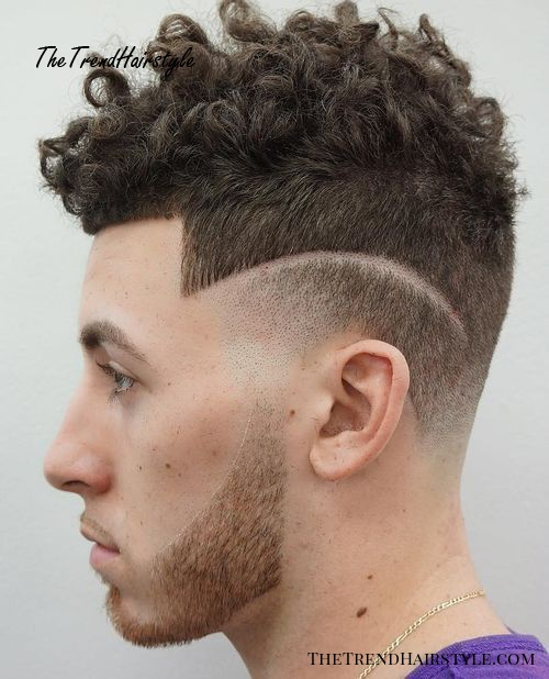 men's curly top hairstyle with short sides