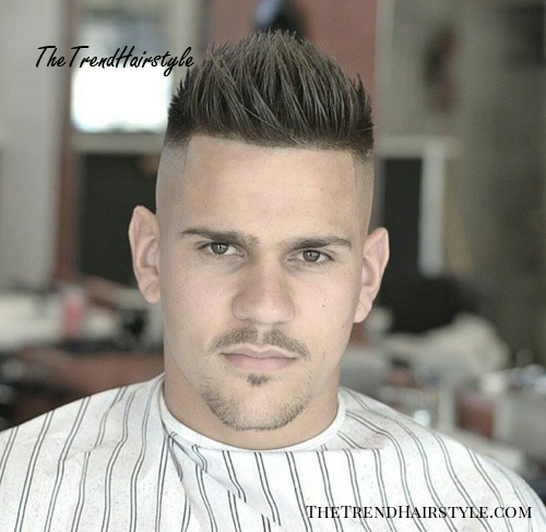 men's fauxhawk with square hairline