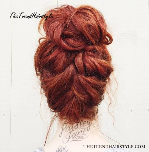 messy braid into bun updo for thick hair
