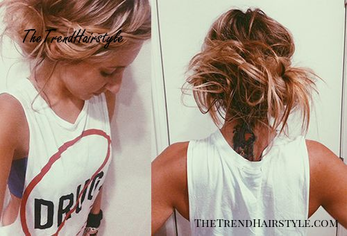messy braided updo for straight hair