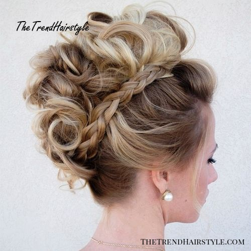 messy fauxhawk updo with braids