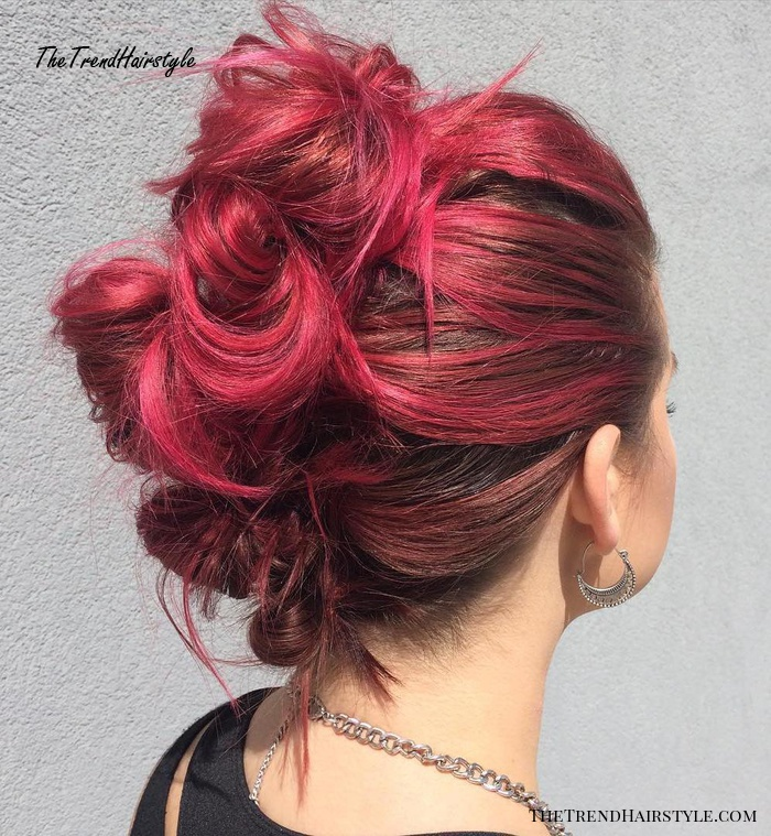 messy knotted mohawk updo