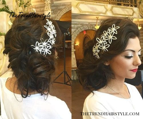messy side updo for bridesmaids