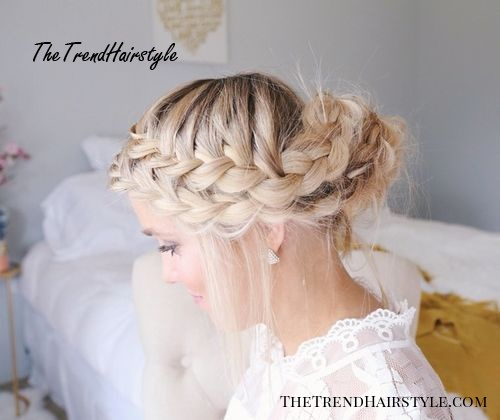 messy two french braid updo hairstyle