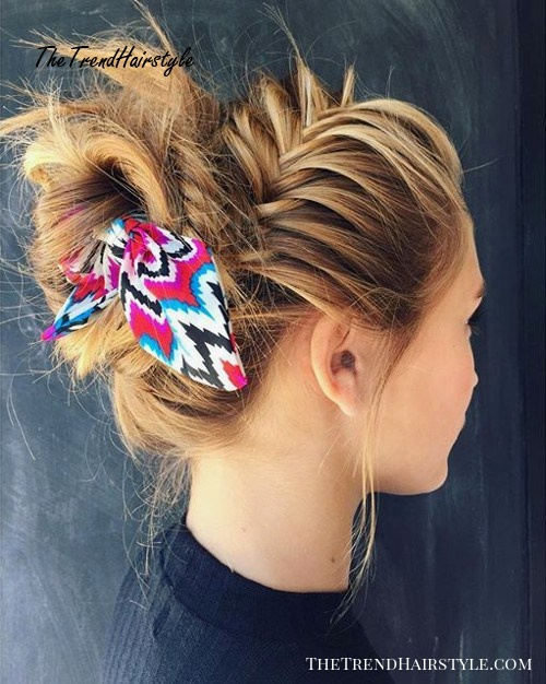 messy updo with fishtail braid