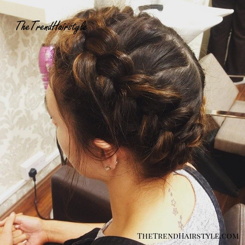milkmaid braid updo with dutch braids