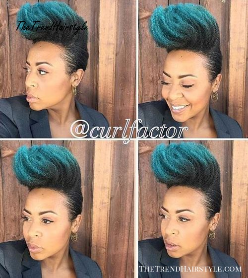 natural Mohawk updo with blue dip dye