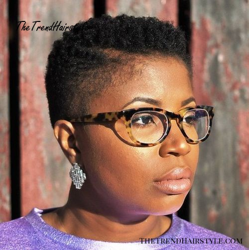 natural short black afro with faded sides for women