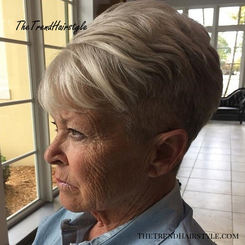 older women's short undercut haircut